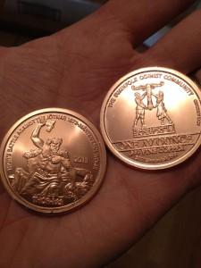 2 futhmark Thor Copper Medallion.