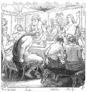 A depiction of Lokasenna (1895) by Lorenz Frølich
